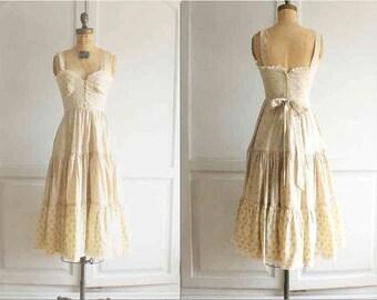 70s Gunne Sax peasant prairie dress floral Indian cotton
