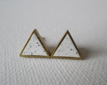 white granite small brass triangle stud earrings