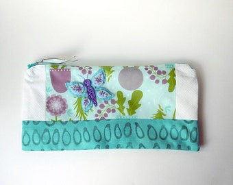 "Zipper Pouch, 5.25x10.25"" in Teal, Aqua, Purple, Green and white flowers with Handmade Felt Butterfly Embellishment, Butterfly Pencil Case"