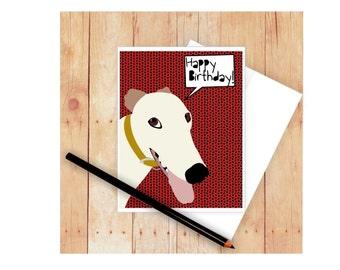Greyhound Birthday Card, Greyhound Thank You Card, Dog Greeting Card, Greyhound Art, Greyhound Artwork, Dog Greeting Card, Dog Stationery