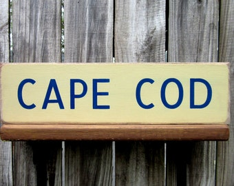Cape Cod Sign, Massachusetts, Seashore, Cape Cod, Beach House, Wood Sign, Tan, Blue, Painted Wood, Hand Painted