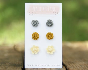 Mustard Yellow Daisy Earrings << Grey Rose Flower Earrings >> Cream Ivory Flower Earrings >> Bridesmaid Earrings