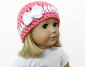 Doll Hat, Crochet Doll Beanie, 18 Inch Doll Hat with Bow