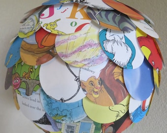 """OOAK 12"""" Up Cycled Hanging Paper Lantern Mixed Recycled Kids Books Seuss Pooh"""