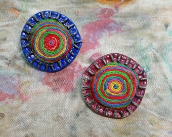 Bullseye Bottlecap Salvage and Embroidery Earrings
