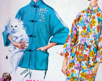 UNCUT * 1960 McCalls  Pattern 2433  // Beautiful Misses' Lounging Coat or Robe with Embroidery Transfers   // Size Small