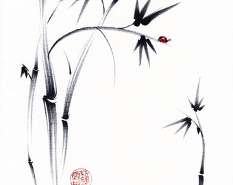 Lovely Day -  Original Sumie Ink Painting Bamboo and Ladybug