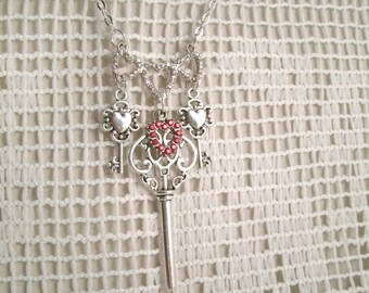 Hearts and Keys Crystal stones Necklace Pendant Red and clear crystals in hearts