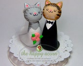 Cat Wedding Cake Topper Kitty Cats Custom Colors Your Choice - Handmade by The Happy Acorn