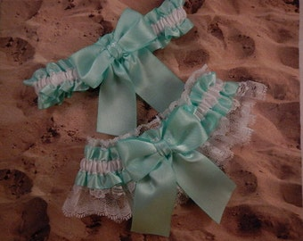 Mint Green Satin White Lace Wedding Bridal Garter Toss Set