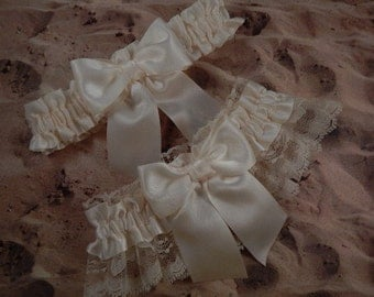 All Ivory Satin Ivory Lace Wedding Bridal Garter Toss Set