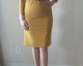 Honey Mustard 1950's/60's Vintage Wiggle Dress