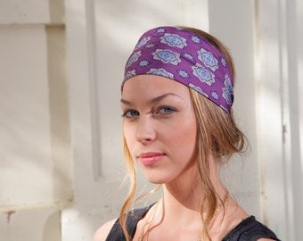 Silk Headband, Silk Head Wrap, Purple Headband, Summer Headband