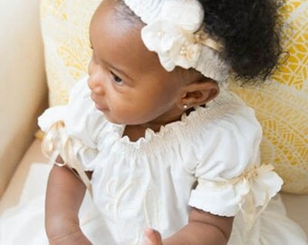 Special Occasion Dedication Baptism Boutique Ivory or White Monogrammed Angel Dress
