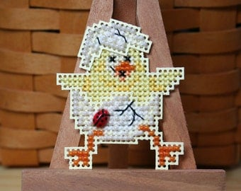 Spring Chick Cross Stitched and Beaded Ornament, Magnet, or Pin - Free U.S. Shipping