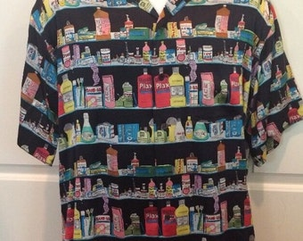 Nicole Miller Silk Camp Shirt Medicine Chest Pharmaceutical Vintage Drugs Men S
