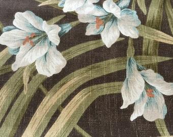 "SALE - 98 Original Tropical ""Magnolia Homes"" Design//All cotton//Turqoise/White/Orange Hibiscus Flower w/Palm Fronds//"
