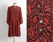 vintage Jean Muir silk dress * babydoll peasant dress * 70s 80s vintage dress * red + black print