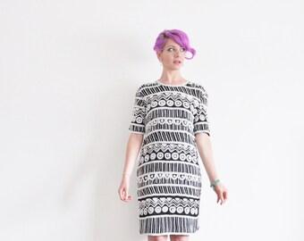 geometric sequin beaded dress . black white pattern party shift .medium .sale