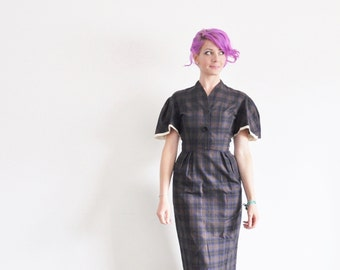 mid century plaid flutter sleeve dress . navy blue brown tartan print .extra small.xs .sale