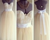 The Champagne Dreams Lace and Pearl Bustier Wedding Dress/Gown White/Champagne
