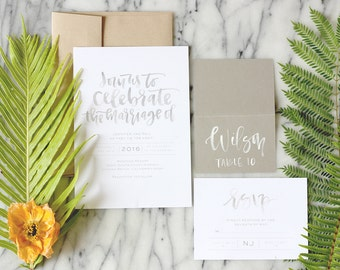 grey watercolor calligraphy custom wedding suite