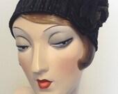 Gold crush headband. Black and gold velvet, handmade flower pin. Boho headband, Flapper. Free shipping in the US.