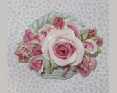 Blue Basket Pin full of Pink Roses     Handmade Brooch     Shabby Chic Vintage Cottage Style