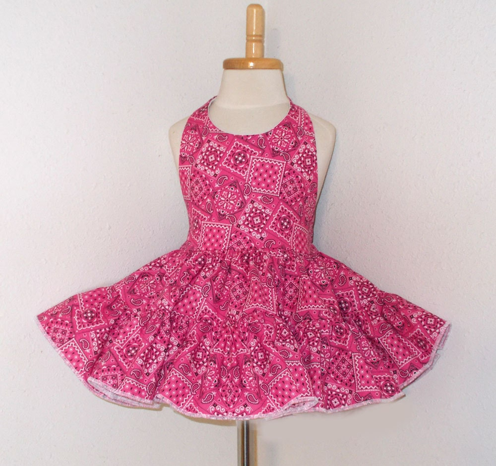 a50fcd175876b Hot Pink Bandana Cowgirl Twirly Halter Square Dance Dress Sundress Infant  Baby Toddler Girl 3-