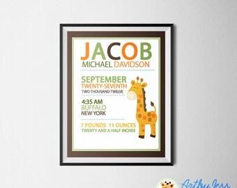 Giraffe Jungle Nursery Birth Announcement Personalized Baby Gift