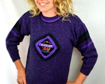 Vintage 1980s Purple Bugle Boy Sweater