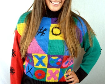 Vintage 90s Tic Tac Toe Rainbow Knit Cropped Sweater