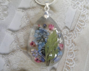 Sky Blue Forget-Me-Nots,Pink Heather,Queen Anne's Lace,Ferns,Pressed Flower Glass Teardrop Pendant-Symbolizes True Love,Peace-Gifts Under 35