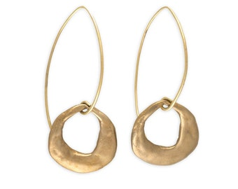 Round Earrings - Crescent Moon Earrings - Gift for Women - Eco Friendly Jewelry - Bronze Jewelry - Crescent Moon Drops (EB-CST-ML)