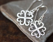 Unique Handcrafted Four Leaf Clover Earrings, Lucky Shamrock, very short everyday sterling silver earrings, Small dangle earrings