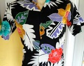 Hawaiian shirt 1980s vintage surf floral print by Surf Line
