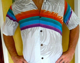 1980s Hawaiian rainbow surf and sail vintage shirt - size medium/arge by Offshore