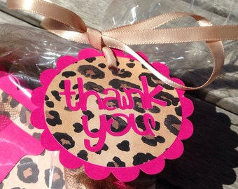 THANK YOU Gift Tags - Pink & Leopard Thank You Party Favor Tags - set of 5