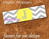 125 Grey Chevron and Yellow center Napkin wrappers