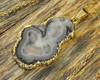 Stalactite Necklace, Stalactite Pendant, Stalactite Jewelry, Stalactite Slice, Gold Necklace, Natural Stalactite Stone, 14k Gold Fill Chain