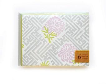 Old Lattice Letterpress Cards, set of 6