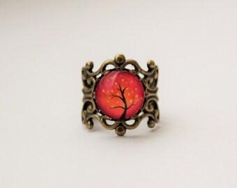Pink and Orange Tree Filigree Statement Ring. Adjustable.