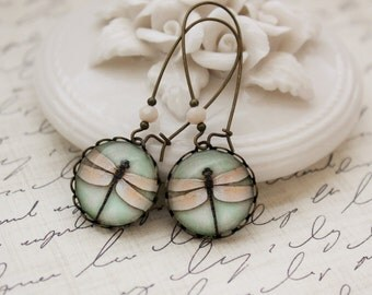 Mint and Peach Dragonfly Earrings. Gift for her under 25 usd