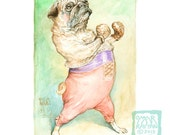 Pug-ilist (print) pug dog boxer athlete