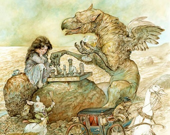 Interlude with the Gryphon (print) Alice in Wonderland - chess game - white rabbit