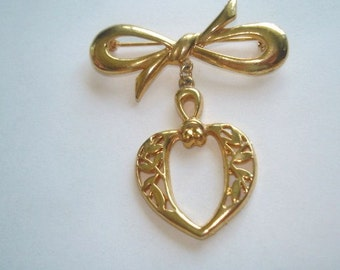 Gold Tone Bow Heart Leaves Brooch