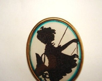 Silhouette Child Playing Brooch KL Design