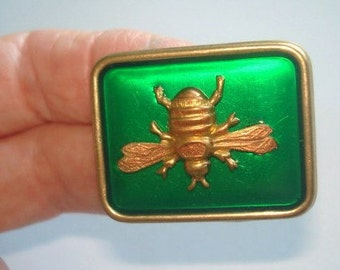 Bee Vintage Jewelry Brooch Emerald Green Gold Tone