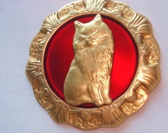 Cat Brooch Ruby Gold  Tone