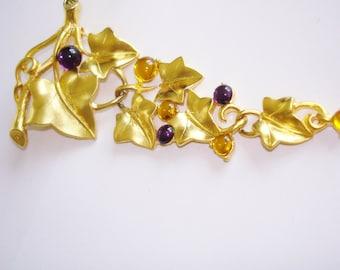 Grape Leaf Brooch Gold Tone Rhinestones
